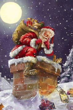 Santa At Chimney With Moon Canvas Art Print by Marcello Corti - Weihnachten Advent Silvester Neujahr - Noel Christmas Scenes, Vintage Christmas Cards, Santa Christmas, Christmas Pictures, Winter Christmas, Christmas Canvas, Father Christmas, Christmas Cookies, Illustration Noel