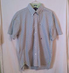 Tommy Hilfiger Lg Green Yellow Men's Polo Rugby Short Sleeve Button Dress Shirt #TommyHilfiger