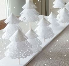 Add a little holiday cheer to your home with these festive tabletop DIY Christmas tree decorations! These Christmas tree crafts are fun, easy & kid-friendly Paper Christmas Decorations, Creative Christmas Trees, Christmas Tree Crafts, Mini Christmas Tree, Cheap Christmas, White Christmas, Christmas Ornaments, Christmas Ideas, Xmas Trees