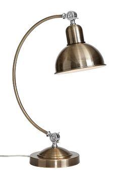 Av metall med ställbar skärm. Skärmhöjd 18 cm. Ø 18 cm. Lampa E27. Max 40W. Omkrets kupa 18 cm. Total höjd på lampans fot 54 cm. Fotens omkrets 18 cm. <br><br>