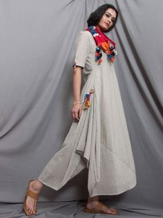 Grey Cotton Cowl Dress with Ikat Stole - Set of 2