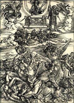 "Albrecht Dürer, ""The four angels of Death"" (1498) (via British Library)"