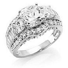 5.50Ct Cushion Cut D/VVS1 Diamond Three Stone Frame Ring 925 Sterling Silver by JewelryHub on Opensky