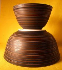 Vintage Pyrex Terra Mixing Bowls Black & Brown