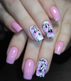 35 Best Spring Nail Art Designs You Must Try – Nails Summer – Fall – Spring – Winter Cute Pink Nails, Pink Nail Art, Acrylic Nail Art, Cool Nail Art, Pretty Nails, Edgy Nail Art, Purple Nails, Short Nail Designs, Nail Designs Spring