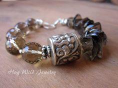 Smoky Quartz Tibetan Silver Focal Bead Sterling by hogwildjewelry, $64.00