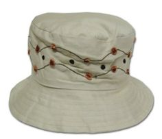 359c5d356b8 CLEARANCE Cotton Bucket Hat with Embroidered Pattern Simple Colors  Tan  Greatlookz.  6.00