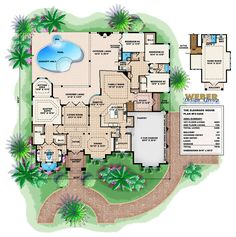 Mediterranean House Plan. The expansive covered lanai has an outdoor kitchen and fireplace. This home has an ideal layout for indoor-outdoor entertaining. The master suite is appointed with a large sitting area with a bay window as well as two walk-in closets and a luxurious bathroom.