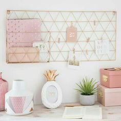 home office / desk / workspace decor in pink and rose gold grid