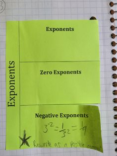 Foldables for exponents and scientific notation