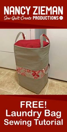 Watch Stitch it! Sisters Program Big-Bigger Laundry Bag NEW! Stitch it! Nancy Zieman, Sewing Patterns Free, Free Sewing, Sewing Hacks, Sewing Tutorials, Sewing Tips, Fabric Crafts, Sewing Crafts, Bag Sewing