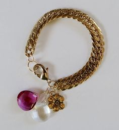 FUF 8-12-16 B'Sue Vintage gold designer chain and jump. Stones and charm from my collection.