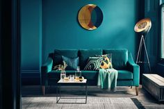 'The Interior Design Trends in - With Rockett St George & Busola Evans — HORNSBY STYLE How fabulous does this teal sofa look against the bold dark blue walls. Richmond 3 seater sofa (in velvet teal) from £. Interior Design Trends, Home Design Decor, House Design, Home Decor, Design Ideas, Interior Inspiration, Room Inspiration, Color Interior, Interior Office