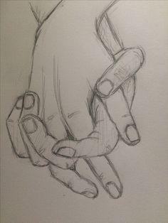 Prática esboço segurando as mãos 4 - pinkishcoconut Zeichnungen iDeen ✏️ Cool Art Drawings, Pencil Art Drawings, Drawing Sketches, Sketching, Sketch Art, Sketches Of Hands, Love Sketch, Sketch Ideas, Girl Sketch