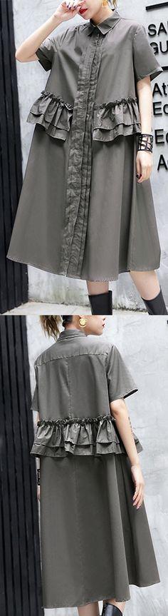 Elegant-gray-green-cotton-knee-dress-oversize-traveling-clothing-lapel-collar-ruffles-cotton-clothing-dresses