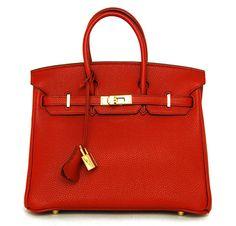 Hermès 35cm Red Togo Leather Birkin Bag