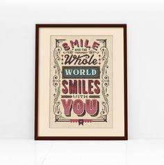 Smile Typographic Cross Stitch Pattern Digital by Stitchrovia