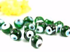 10mm Evil Eye Glass Bead 40pcs Green Glass Evil Eye by Cchange