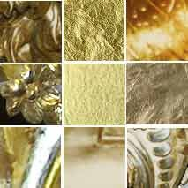 water gilding vs. oil gilding! Water Gilding, a much more expensive process, cannot be used in exterior settings and can be burnished.
