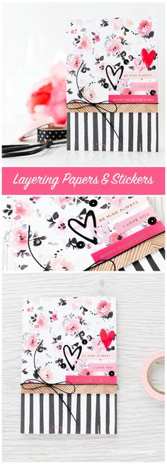 Layering gorgeous Crate Papers and stickers from the Simon Says Stamp card kit makes for a quick and easy Valentine's card