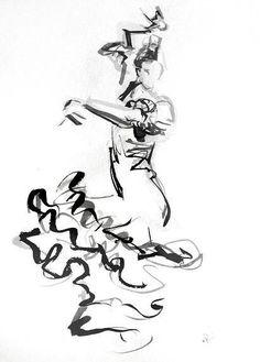 Flamenca Spanish Dancer, Spanish Art, Dance Paintings, Indian Paintings, Dancing Drawings, Flamenco Dancers, Art Corner, Belly Dance Costumes, Sketch Painting