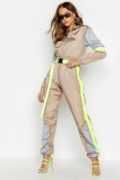 Colour Block Shell Jumpsuit | Boohoo Sporty Outfits, Fall Outfits, Cute Outfits, Joggers Outfit, Teenager Outfits, Dance Outfits, Festival Outfits, Sport Fashion, Aesthetic Clothes