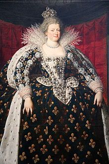 Marie de Médici (1575-1642) (1610 Frans Pourbus), daughter of Francesco I de Medici and Joanna of Austria, married Henri IV in 1600. In spite of Henri's infidelity, Marie gave birth to six children and became Regent to Louis XIII after Henri's 1610 death.  Her political intriguing caused her to be exiled from court from 1618-1621, and exiled from France from 1630 until her death.  Alleged to have been behind Henri IV's assassination, she pitted her sons Gaston and Louis XIII against each…