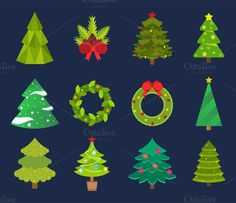 Christmas tree icons vector set. Graphic Design Infographics. $5.00