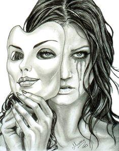 """Smile N Sad"" criativa em - Zeichnungen traurig - Arte Sad Sketches, Sad Drawings, Dark Art Drawings, Pencil Art Drawings, Art Drawings Sketches, Smile Drawing, Mask Drawing, Deep Art, Arte Obscura"