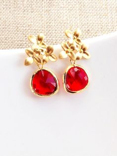 Ruby Swarovski Earrings, Red, Gold Plated Flower Studs Earring, Gold Earrings With Ruby Swarovski Crystal, Wedding, Brides, Bridesmaid Gift