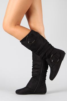 Data-80 Round Toe Buckle Knee High Boot