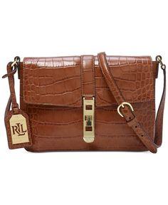 99c4e3f5f37 Lauren Ralph Lauren Darwin Embossed Croc Crossbody Brown Leather Handbags,  Brown Crossbody Purse, Leather