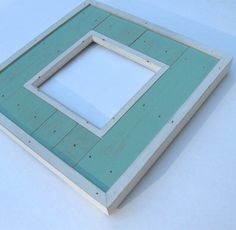 Square Turquoise Wood Photo Frame, distressed, beach cottage decor, rustic, french blue, white trim