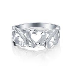 Dolphin Love S925 Argent Sterling Coeur Anneau Or Rose CZ Women Jewelry