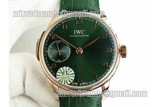 IWC Portuguese RG IW5242 YLF Green Dial Gold Makers on Green Leather Strap A95290