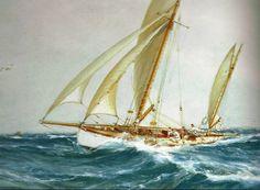 """""""Course de yachts par bonne brise"""" (détail) de Montague Dawson (1895-1973). Aquarelle"""