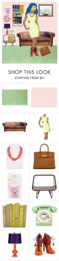 """""""Head-Turner: Unicorn Hair"""" by fattouvy ❤ liked on Polyvore featuring Thibaut, Hervé Léger, Kate Spade, Hermès, Skinnydip, I Love Living, GPO, WALL, House of Holland and couch"""