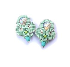 Ellegant Clip On Earrings Mint Soutache by GiSoutacheJewelry