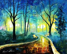 "Original Recreation Oil Painting on Canvas This is the best possible quality of recreation made by Leonid Afremov in person  Title: Blue Fog Size: 30"" x 24"" (75 cm x 60 cm) Condition: Excellent Brand new Gallery Estimated Value: $6,500 Type: Original Recreation Oil Painting on Canvas by Pa..."