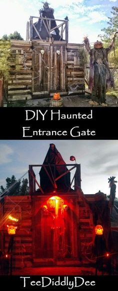 Make a scary entrance gate for trick-or-treaters for Halloween Haunted Trail Ideas, Haunted Maze, Scary Haunted House, Haunted House Party, Haunted House Decorations, Diy Haunted House Props, Scary Halloween Decorations, Halloween Haunted Houses, Halloween House