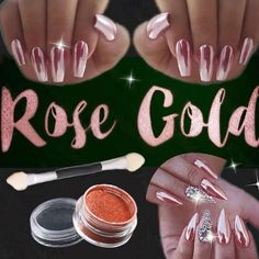 2g Rose Gold Chrome Pigment Nail Glitter Effect on Pink Color Mirror Ultrafine Powder Aluminium Powder Nail Art Decoration for W