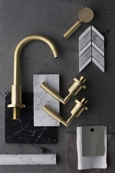 Master bath combo inspiration - Disregard the other finishes but these Astra Walker Taps could be carried through to the bathrooms too Mood Board Interior, Interior Design Boards, Bathroom Interior Design, Kitchen Interior, Interior And Exterior, Furniture Design, Brass Tap, Brass Faucet, Faucets