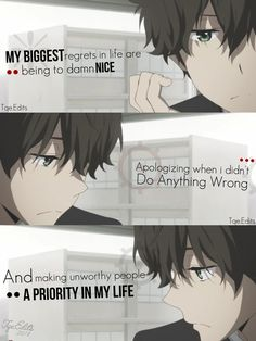 Sad anime quotes, manga quotes, quotes that describe me, hyouka, dark anime Dark Quotes, New Quotes, True Quotes, Sad Anime Quotes, Manga Quotes, Hyouka, Dark Anime, Anime Life, Thing 1