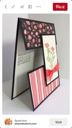 Wild About Flowers club card side - midriff card Fun Fold Cards, Folded Cards, Cool Cards, Joy Fold Card, Step Card, Tarjetas Diy, Acetate Cards, Shaped Cards, Card Tutorials
