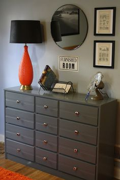 Like this for redo on old dressers... Painted gray dresser perfect for a teenage boys bedroom, gray & orange