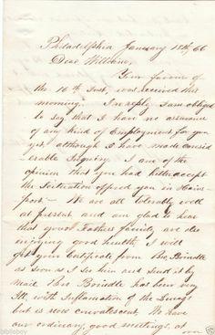 1866 Letter James L.Turner of Philadelphia to William L. Kelly of Mount Holly NJ