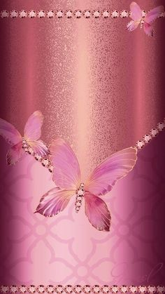By Artist Unknown. Flower Iphone Wallpaper, Bling Wallpaper, Rose Gold Wallpaper, Pretty Phone Wallpaper, Phone Screen Wallpaper, Butterfly Wallpaper, Butterfly Art, Love Wallpaper, Cellphone Wallpaper