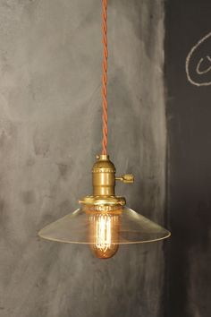Vintage Pendant Light with Glass Shallow Cone Shade - Machine Age Industrial Minimalist Bare Bulb Pendant Lamp