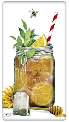 FLOUR SACK KITCHEN DISH TOWEL MASON JAR SWEET ICED TEA MARY LAKE THOMPSON #MaryLakeThompson