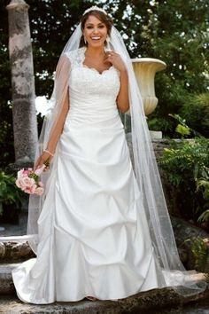My dream dress love it ! Cap Sleeved Satin Side-Draped A-Line Gown - David's Bridal - mobile Davids Bridal Plus Size, Plus Size Wedding Gowns, Bridal Wedding Dresses, Wedding Dress Styles, Bridesmaid Dresses, Bridal Style, Prom Dresses, Dress Prom, Modest Dresses